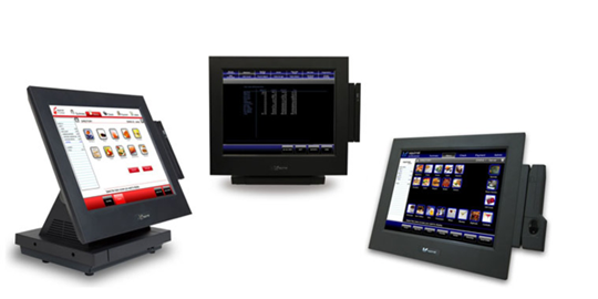 three restaurant squirrel monitors running software