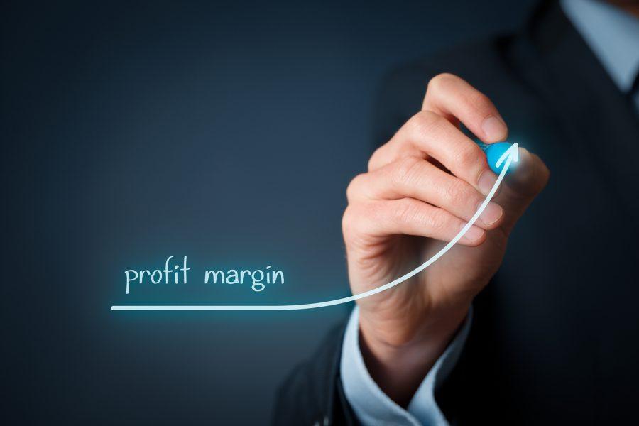 Increase profit margin concept. Businessman plan (predict) profit margin growth represented by graph.